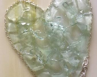 Glass heart acrylic painting - mixed media - 7x18