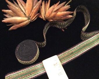 Vintage Woven Cotton Trim, Vintage Guitar Strap Trim, Vintage Woven Edging, Woven Belt Trim