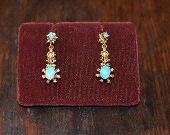 14 K Gold Blue Opal Drop Earrings Tear Drop Dangle Earrings