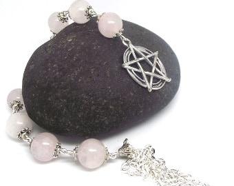 Rose Quartz Pentagram Knot Magic Prayer Beads Witches Ladder