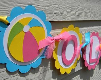 Beach Ball Birthday Banner, Beach Ball Name Banner, Girl Beach Ball Party, Pool Party Decorations, Summer Party Decorations, Summer Party