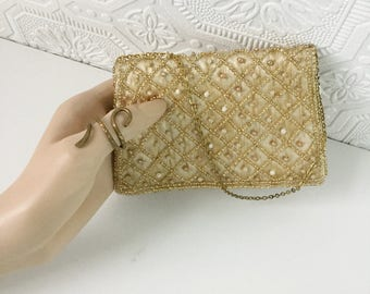 Gold Beaded Mini Clutch, Raw Silk, Gold Chain with Matching Mirror, New Old Stock, NOS, Vintage 1950's, Bridal Purse, Evening Bag, With Box