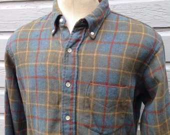 Distressed 1960's Penneys Towncraft wool shirt, large