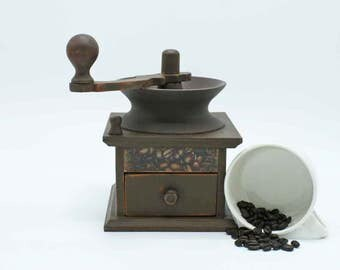 Decorative coffee grinder, faux coffee grinder, coffee decor, decoupage