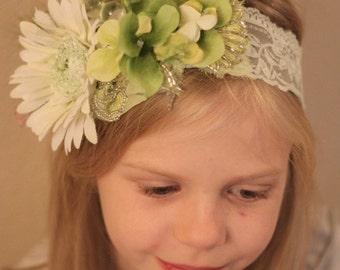 toddler elastic llace headband,green lace floral headband