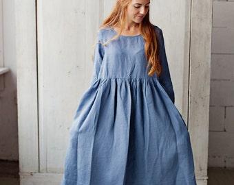 Linen Tunic Dress, GREY Blue Dress, Gypsy Dress, Hand Made Dress, Womens Smock Dress, Loose Retro Dress, Long Sleeve Tunic, Casual Clothing