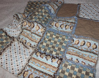Reduced Price -  Little Boys Monkey Face Rag Quilt Security Blanket