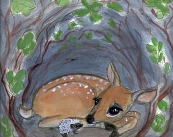 """Baby Deer Art, Animal Friendship painting, Deer and Hedgehog art, Animal portrait (6x8) Nursery room decor, """"Lost in the Woods"""""""