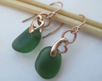 Green Sea Glass Rose Gold Vermeil Earrings