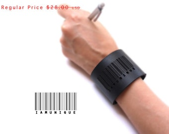large black leather cuff bracelet - Barcode Cuff in Black Leather with Snaps: IAMUNIQUE - modern design, laser cut