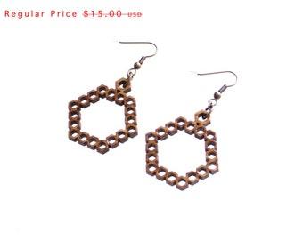 geometric pattern bamboo wood earrings - Bamboo Hexagon Earrings - 1 Ply.  natural bamboo eco friendly summer jewelry