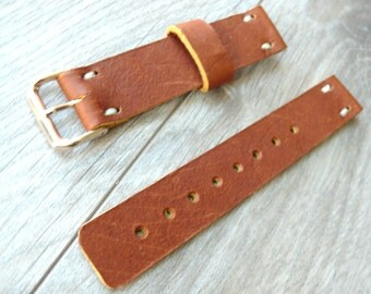 Brown leather watch band, Handmade leather watch strap, thick leather black watch strap 22mm watch band, mens anniversary