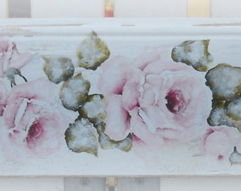 Original Shabby Style Vintage French inspired Rose Painting onTimber