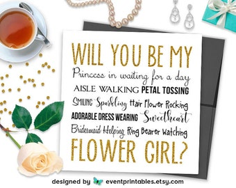 Will You Be My Flower Girl Card, Gold Glitter Bridal Party Proposal Card, Princess in Waiting, PRINTABLE DIGITAL FILE by Event Printables