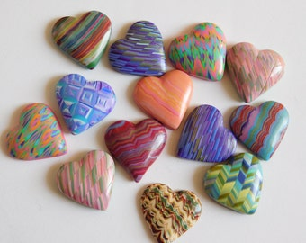 Colorful Polymer Clay Hearts, set of 13 heart shaped cabochons for jewelry and crafts