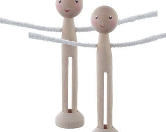 "Peg doll kit - Parts for two 11cm tall peg dolls with painted face - 2 dolly pegs with arm holes, 1"" head beads, pipecleaner arms and stands"