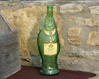 Vintage Green Fish Wine Bottle, Green Fish Wine Bottle 1978 Antinori Soave Italian Wine