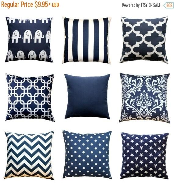 SALE Navy Blue Pillow Cover, Nautical Pillows, Zippered Pillow, Blue Cushion Cover, Navy Beach Decor, Navy Decorative Throw Pillows, All Siz