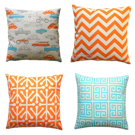 Throw Pillows In Clearance : CLEARANCE Toss Pillows Mandarin Orange by ModernalityHomeDecor