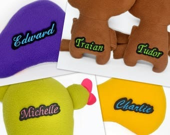 Embroidery service for your plushie - Customise your plushie with the names / words of your choosing name tag label names patch patches felt