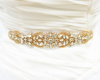 GOLD Wedding Belt, Bridal Belt, Sash Belt, Crystal Rhinestones sash belt