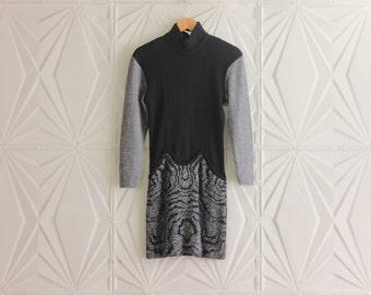 Lillie Rubin Sweater Dress Women's Mini Black Grey Gray Vintage Retro Made in Italy Size Small S