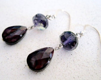 Purple Glass Earrings Sterling Silver Edwardian Style Dangle Jewelry Gifts for women under 25 dollars Spring Summer Fashion Accessory