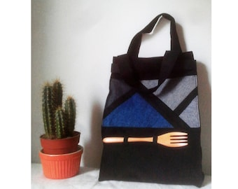 Cotton, canvas lunch bag, denim patchwork with handles and reusable wooden fork