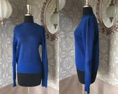 Vintage 1950's Cobalt Blue Virgin Wool Sweater with Suede Elbow Patches Medium