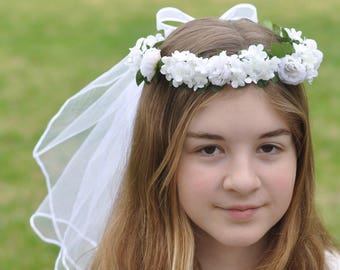 First Communion Veil with white viburnum, hydrangea and roses with faux pearl centers, flowers and double tier veil with bow.