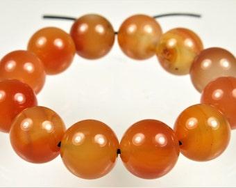 Natural Carnelian Round Bead - 10mm - 12 beads - B6137