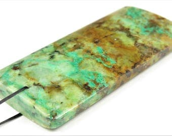 Abstract Scenic Beauty ~ Large Gorgeous Chrysocolla in Quartz Rectangle Pendant - 62 mm x 29 mm x 7 mm - B7168