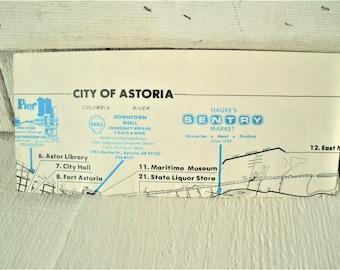 Vintage Oregon map Astoria north coast city roads folding 1970s
