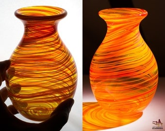 Hand Blown Glass Vase - Tall Bulbous Shape with Bright Hot Color Swirls
