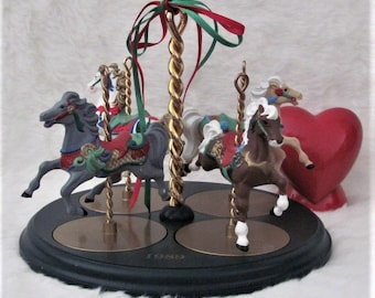 Vintage Hallmark Carousel Horse with Display Stand 1989 Snow, Holly, Star and Ginger Horses + FREE gift