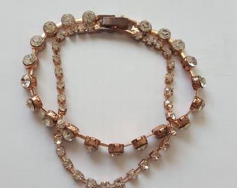Vintage Gold Plated Diamonte Bracelet