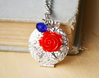 Red Rose Locket Essential Oil Diffuser Necklace