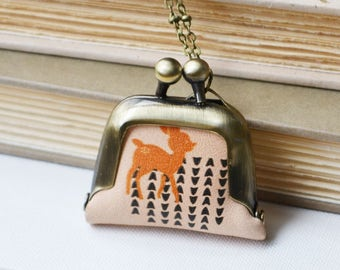 Cute Deer Coin Purse Necklace