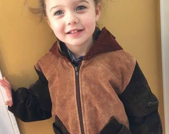 Upcycled suede  jacket for child.
