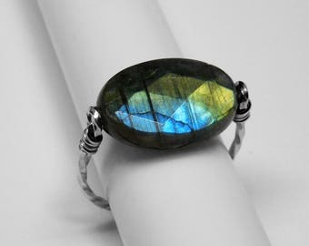 Labradorite Ring in Silver or Gold, 18 x 13 mm
