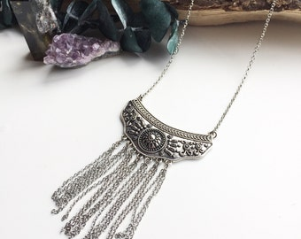 Bohemian Statement Tassel silver necklace