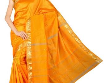 Beautiful Orange Sari Saree - 6 yds of fabric!  Brand new unopened