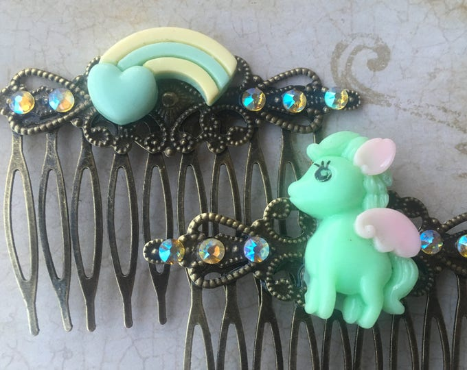 Hair Accessories, Decorative Combs, Flower Hair Combs, My Little Pony Hair Combs, Rainbow Hair Combs, Cabochon Combs, Swarovski Crystal