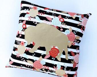 Buffalo Pillow-Black & White Stripes with Floral