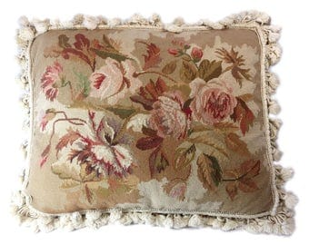 Roses & more roses vintage needlepoint pillow