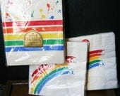Vintage Table Cover and Napkins, Vintage Party, NOS, Sealed, Hallmark Rainbow Table Cover, Rainbow Pride Napkins  Set of 32 Napkins