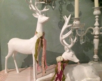 A pair of French Nordic, shabby chic reindeer, white Farmhouse distressed statues