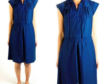 SPRING SALE Vintage 1970s Navy Blue White Polka Dot Collared Short Sleeve Shirt Dress Midi Length Size S Small / M Medium