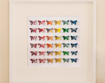 Rainbow Butterflies Large - Recycled Can Picture, Framed