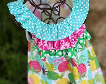 Pineapple Rainbow Ruffle Dress with Triple Ruffle
